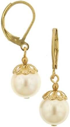 Gold-Tone Simulated Pearl Drop Earrings