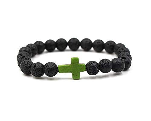 Green Stone Bangle - JOYID 8MM Ornament Lava Volcanic Stone Beads Turquoise Cross Elastic Stretch Bracelet Religion Bangle for Women Men-Green