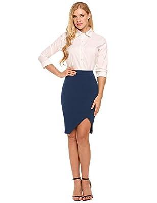 Zeagoo Women's High Waist Stretch Bodycon Pencil Skirt for Office Wear Plus Size Casual Skirt