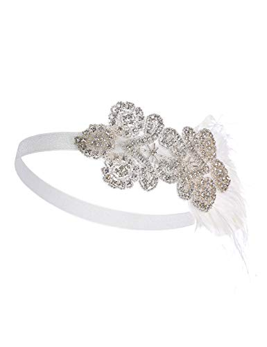 Flapper Girl Vintage White Feather Silver 20s Headpiece 1920s Flapper Headband (White) ()