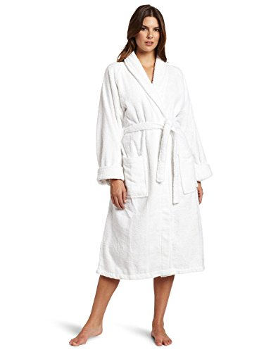 Luxury Cotton Bath Robe (Superior Hotel & Spa Robe, 100% Premium Long-Staple Combed Cotton Unisex Bath Robe for Women and Men - Large, White)