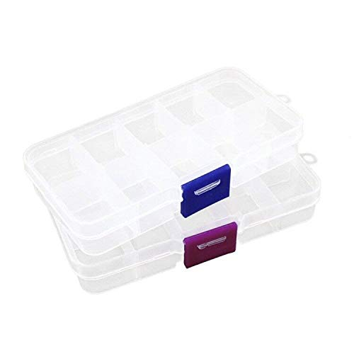 Co-link 2pcs Plastic Jewelry Fishing Hook Small Accessories Organizer 10 Adjustable Clearly Storage Box from Co-link