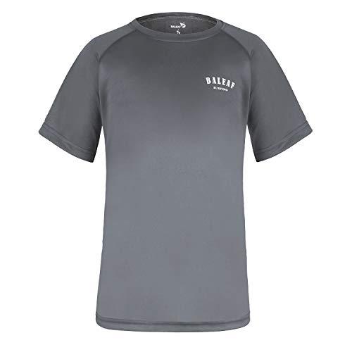 Baleaf Big Boys' Short Sleeve Rashguard Quick Dry Swim Shirt UPF 50+ Grey L