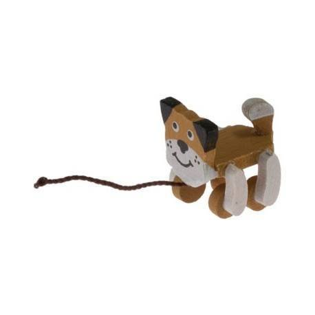 Dollhouse Miniature Pull Toy, Wood Dog