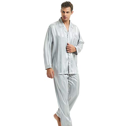Mens Silk Satin Pajamas Set Sleepwear Loungewear Gray L