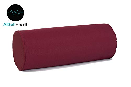 Round Cervical Roll Bolster Neck Roll Pillow Cushion with Removable Washable Pillow Cover, Ergonomically Designed for Head, Neck Support, lumbar pillow, Back pillow, Knee Pillow and Leg pillow, Maroon