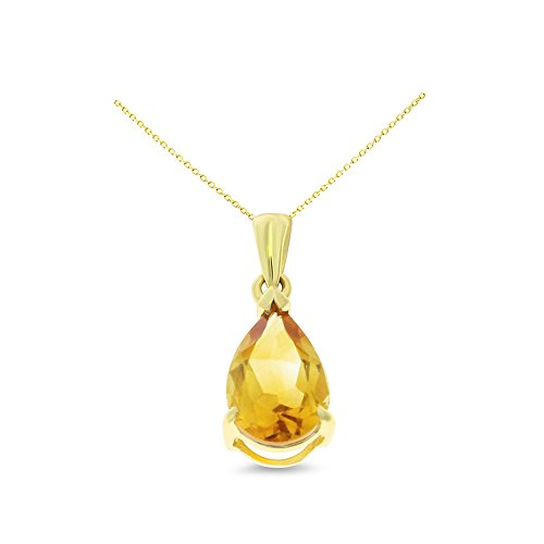 14K Yellow Gold 6 x 8 mm. Pear Shaped Genuine Natural Citrine Pendant With Square Rolo Chain (Pear Citrine Pendant)