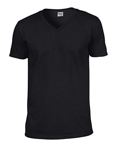Gildan 64V00 - Euro Fit Adult V-Neck T-Shirt Soft Style - First Quality - Black - X-Large ()