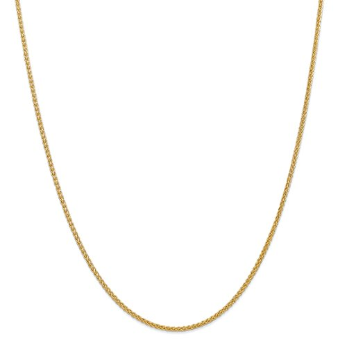 (14k Yellow Gold 2mm Chain Necklace 16 Inch Pendant Charm Spiga Wheat Fine Jewelry Gifts For Women For)