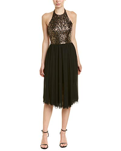 Dress the Population Women's Tatiana Sequin Halter Fit & Flare Midi Dress, Antique Gold/Black, s