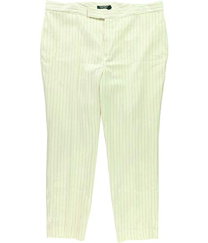 (Lauren Ralph Lauren Womens Stanyslav Linen Striped Skinny Pants Black-Ivory 12)