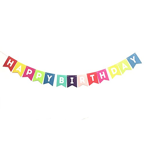 Fulol Colorful Happy Birthday Banner Bunting Set for Birthday Party Supplies Decorations ()