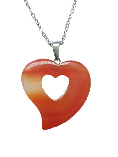 AIMITH Heart Shape Crystal Pendant Red Onyx Lucky Love Necklace Natural Healing Gemstone Jewelry Said Love For Lover 18