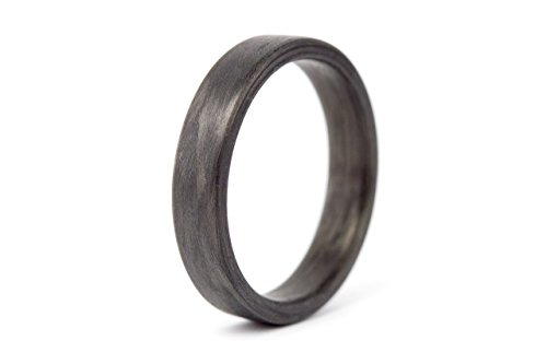 Women's carbon fiber ring. Modern black flat wedding band. Water resistant, very durable and hypoallergenic. (00101_4N)