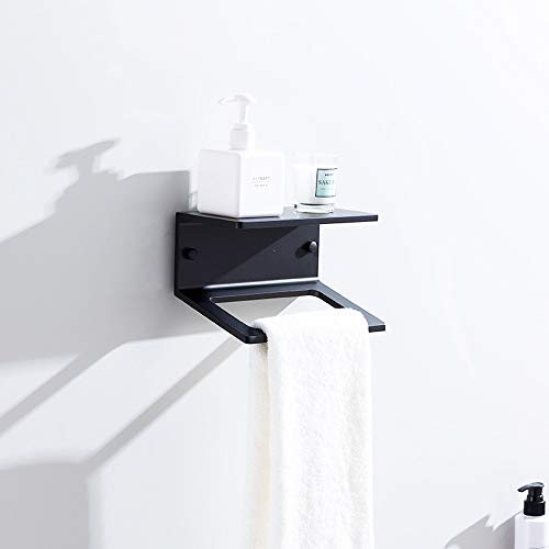 Rishx-bathroom Towel Holder Organizer Space Aluminum Wall-Mounted Square Towel Rings Rack Bathroom Rack Shelf Floating Partition Toilet Paper Holder -