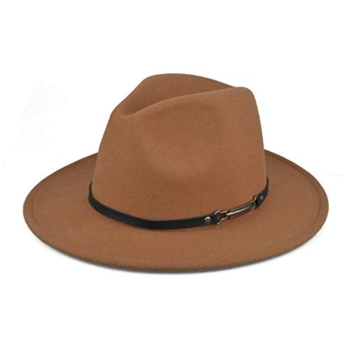 f637e19281c5d3 EINSKEY Fedora Hats with Belt Buckle Unisex Wide Brim Cotton Panama Trilby  Hat Brown