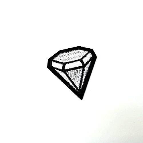 Small White Diamond Shape Patch Iron-On/Sew-On Embroidered Applique TY-264