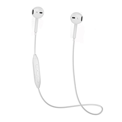 Bluetooth Headphones, V4.1 Noise Cancelling Stereo Sport Sweatproof Wireless Earphones Earbuds Headsets with Mic for iPhone X/8/8 plus/7/6, Samsung S8/S7/S6 Note 8/7 and Android Smartphones (White)