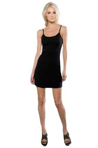 Ébauches Jersey De Coton Et Spandex Pour Femmes Spagetti Robe Noire