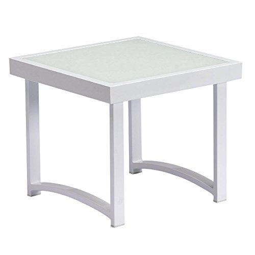ART TO REAL Modern Square End Tables for Living Room, White Rustic Aluminum Outdoor Side Table, Patio Tempered Glass Accent Table (End Table)