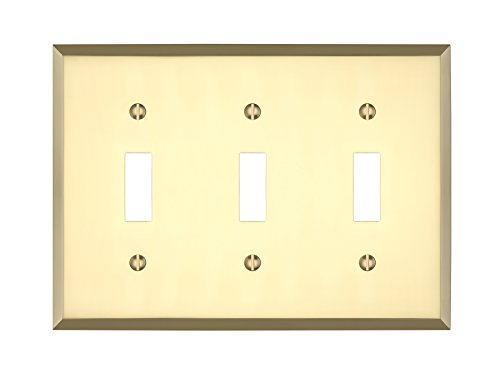 MAYKKE Graham Triple Light Switch Cover Premium 3 Toggle Solid Brass Wall Plate 5 Color Finishes to Choose from, Polished Brass, ()