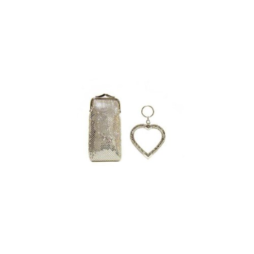 Whiting and Davis Long Cigarette/Eyeglass Case With Heart Key Fob (Silver)