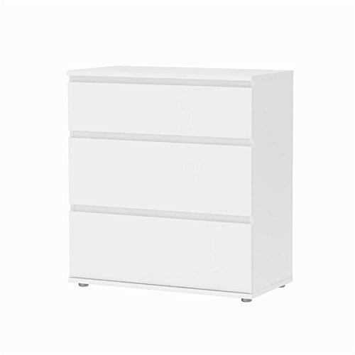 3 Wide Dresser - Tvilum Bright 3 Drawer Wide Chest in White