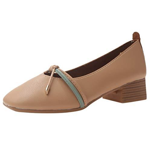Fashion Women Summer Pumps Square Toe Single Shoes Casual Mid Heels Sexy Shoes Khaki
