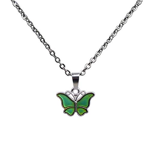 Toporchid Necklace Pendant Thermochromic Butterfly Pedant Necklace Chain Jewelry for Women