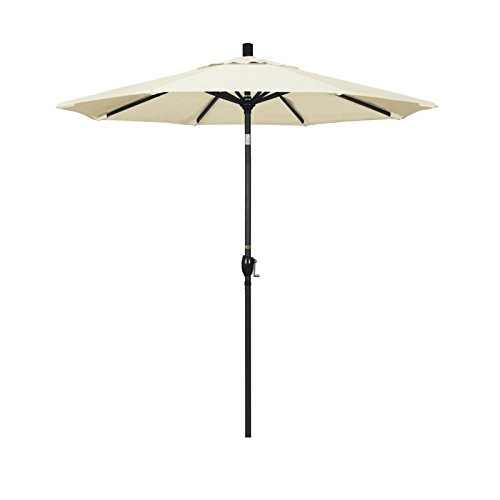 (California Umbrella 7.5' Round Aluminum Market Umbrella, Crank Lift, Push Button Tilt, Black Pole, Sunbrella Canvas)