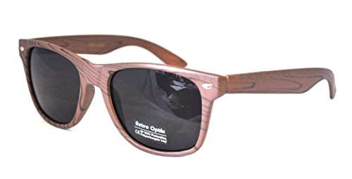 Retro Style Wood Grain Smoke Lens Sunglasses
