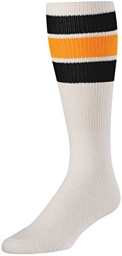 TCK Retro 3 Stripe Tube Socks (White/Black/Gold, Large) ()