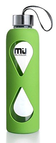 18oz Glass Water Bottle MIUCOLOR - Anti-slip Si...