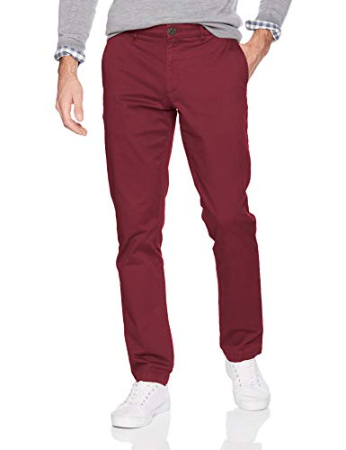 (Goodthreads Men's Slim-Fit Washed Stretch Chino Pant, Burgundy, 34W x 29L)