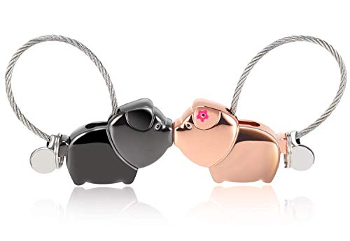 1 Pair of Cute Couple Keychain, Magnetic Detachable car Keychain Man Woman Love Advertising Ring and Link kiss Pig Set, Send Your Girlfriend (Gun Black + Rose Gold)