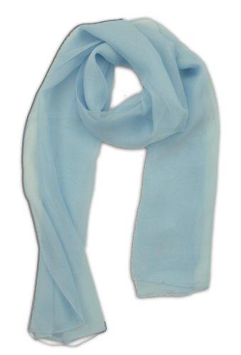 LJL Design Chiffon Scarf Oblong (Light Blue)