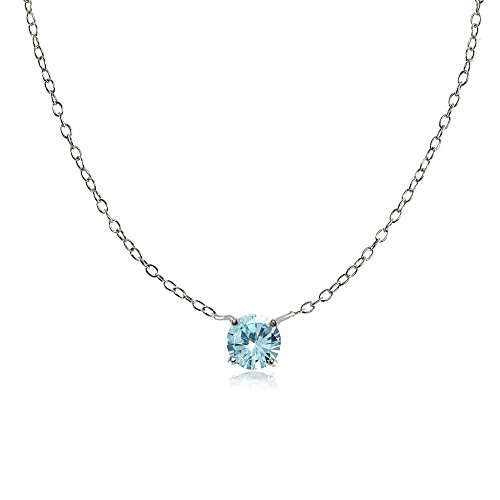 Sterling Silver Small Dainty Round Blue Topaz Choker Necklace (Topaz Pendant Small)