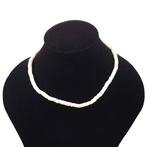 HimTak Bohemian Vintage Natural Shell Piece Rule Necklace Ladies Jewelry(white,60cm = 23.62in)