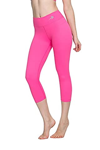 Women's Compression Capri's (Pink - S) - Body Slimming for Yoga, Hidden Pocket, Amazing Workout Pants