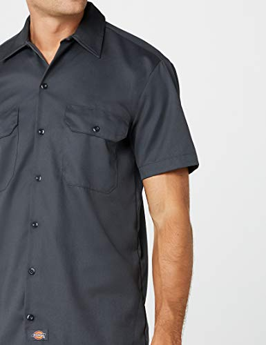 charcoal Homme Work Grey Chemise Dickies Gris Courtes Manches gxYqwwZP