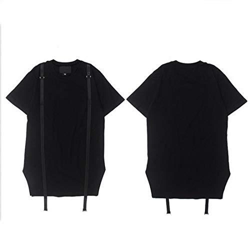 Size Et Ploekgda À Black Col Shirt Hip Manches Coton Rond En T m7Yb6ygIfv