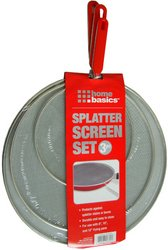 "Home Basics Splatter Screen Set, 3 Pieces - 8"", 10"" & 12"" Screen (Assorted Handle Color)"