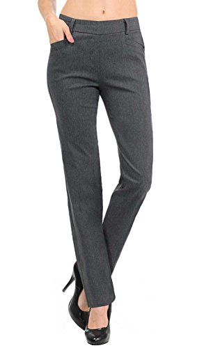 "VIV Collection New Women's Straight Fit Long Trouser Pants (Small - 32"" Inseam, Heather Charcoal)"