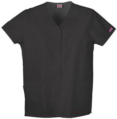 Cherokee Workwear Women's Snap Front V-Neck Shirt,4770