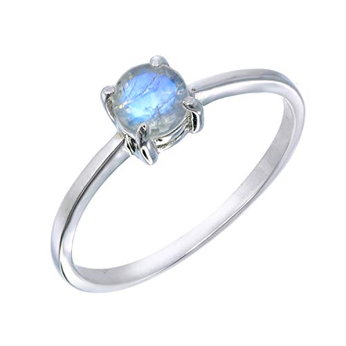 Stackable Tiny Moonstone Prong Ring Size 8 (Ring Moonstone Stackable)