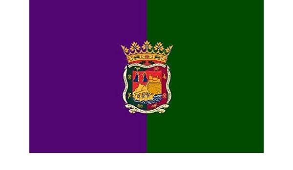 Banderas Online - Bandera de Málaga con escudo Tamaño 250x150 para exterior: Amazon.es: Deportes y aire libre