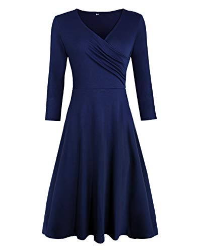 Akivide Womens Comfy A Line Casual Work V Neck Jersey Dress Pleated (S, Navy 3/4 Sleeve)