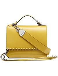 Fringe Glazed Patent Statement Top Handle Mini Satchel Crossbody