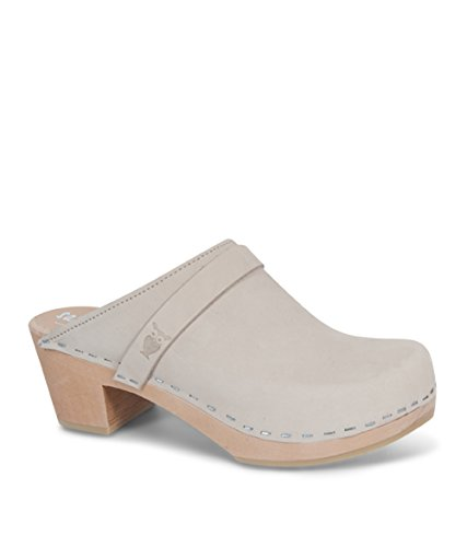Sandgrens Swedish High Heel Wooden Clog Mules For Women | Dublin In Linen, Size US 8 EU 38