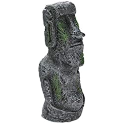 SeedWorld Decorations - Easter Island Stone Statue Resin Ornament Fish Tank Aquarium Decoration Gnome Terrarium Reptile Tank Artificial Stone Home Decor 1 PCs